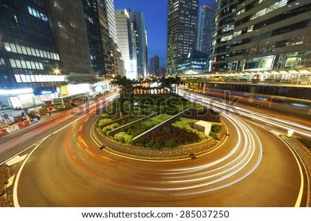 Night Traffic in Hong Kong City - stock photo