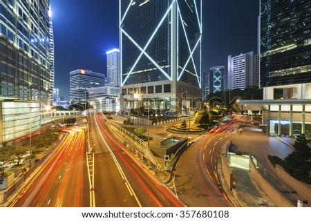 Night Traffic in Hong Kong City - stock photo