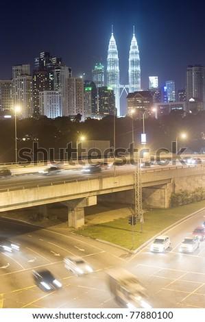 Night traffic in Kuala Lumpur at night. Malasia - stock photo