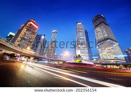 night traffic in Shanghai Lujiazui Finance center - stock photo