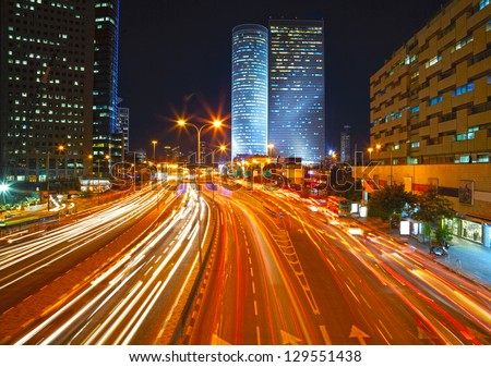 Night traffic jam. HDR - stock photo