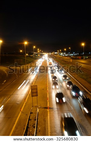 Night traffic jam on a highway