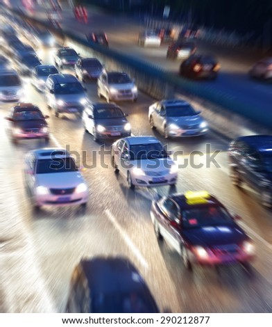Night traffic jam with some motion blur