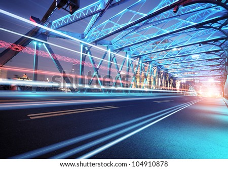 Night traffic lights inside of the Garden Bridge of shanghai china. - stock photo
