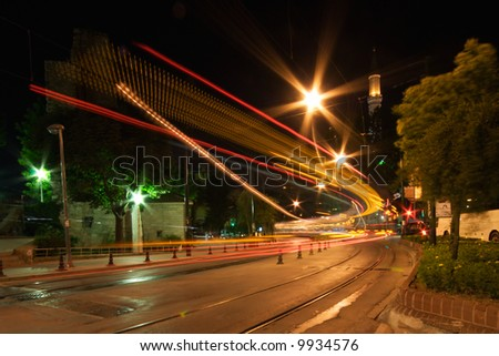 Night Traffic of Istanbul in Motion - stock photo