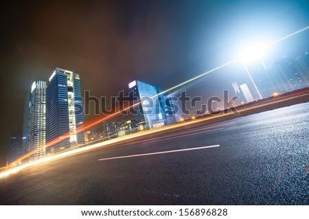 Night traffic on the  cityscape background in shanghai,China - stock photo