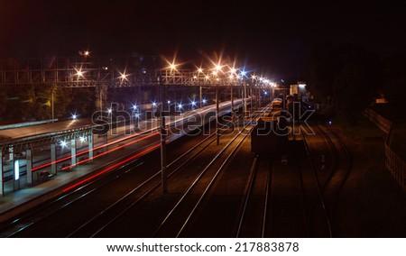 Night train station - stock photo