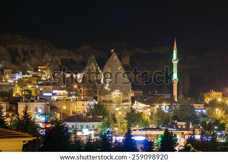 Night turkish town of the Goreme, Cappadocia. - stock photo