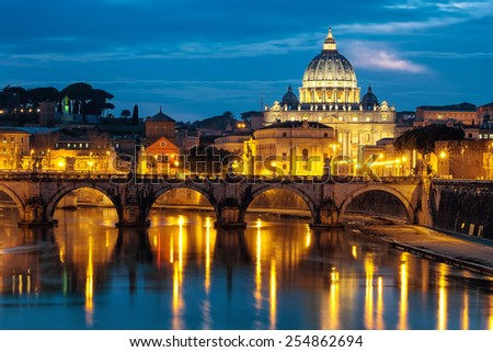 Night view at St. Peter's cathedral in Rome, Italy  - stock photo