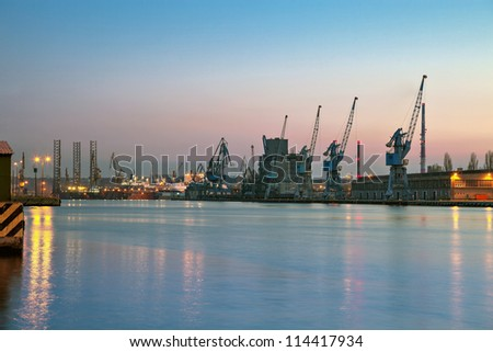 Night view at the port in Gdansk, Poland. - stock photo