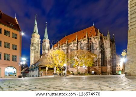 Night view at the St. Lorenz Church, Nurnberg, Germany - stock photo