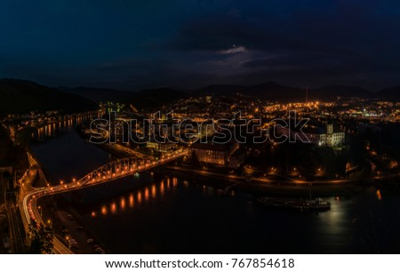 Night view for Decin city in north Bohemia in autumn evening