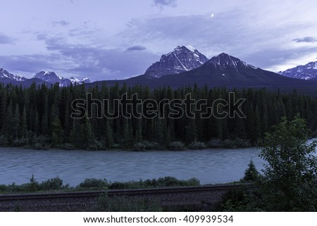 Night View from Bow Valley Parkway in Banff National Park