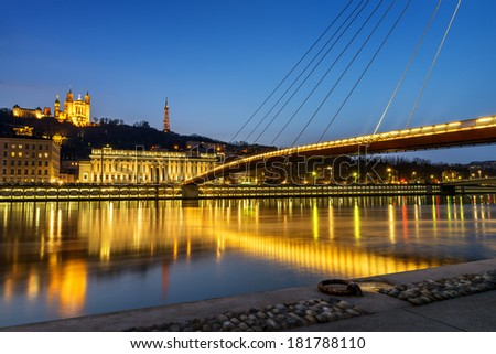night view from Lyon city near the Fourviere cathedral and Sa���´ne river - stock photo