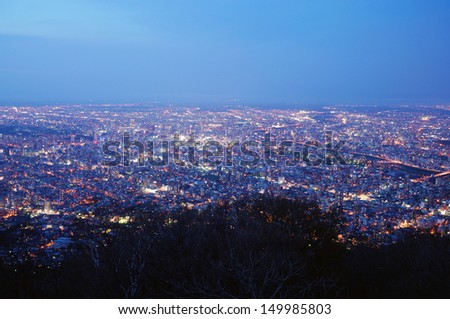Night View from Mt. Moiwa, Located at Sapporo Japan