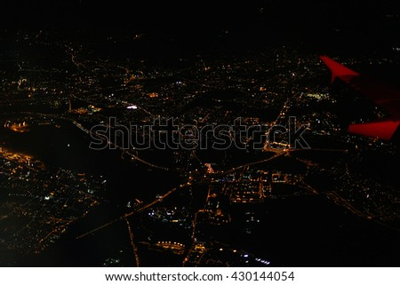 night view from the airplane - stock photo