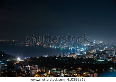 night view from the bird's eye view of the city Pattaya, Thailand