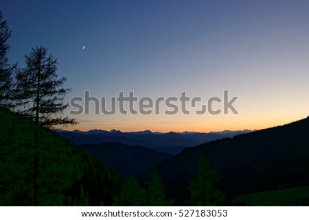 Night view from the Dachstein mountains south to the mountains of the Niedere Tauern, alps, Austria