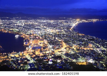 Night view from the mountain - stock photo