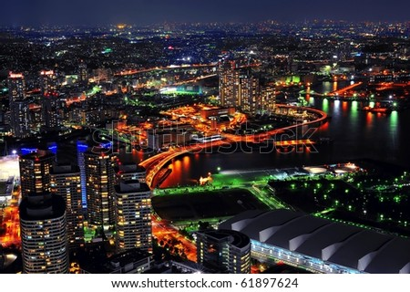Night view from Yokohama landmark showing the Yokohama Bay and Tokyo city at the far end/ Yokohama Bay/Yokohama Bay - stock photo