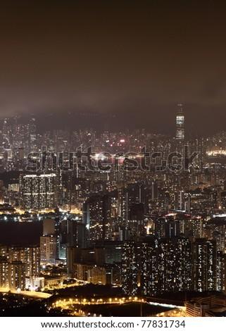 Night view in Hong Kong - stock photo