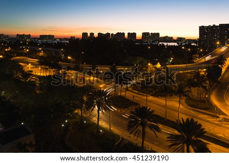 Night view just after sunset in Aventura from Sunny Isles Beach in Florida - stock photo