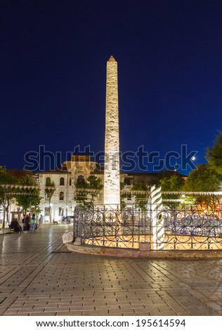night view Obelisk at hippodrome in Istanbul in light of the lanterns - stock photo