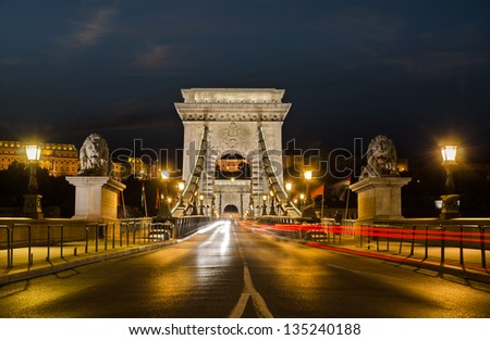 night view of a bridge over danube river in budapest