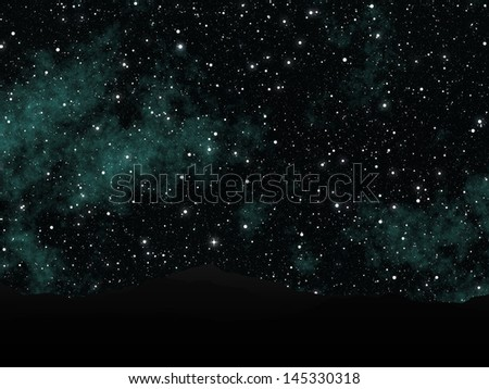 Night view of a dark sky full of stars and silhouettes of mountains. - stock photo