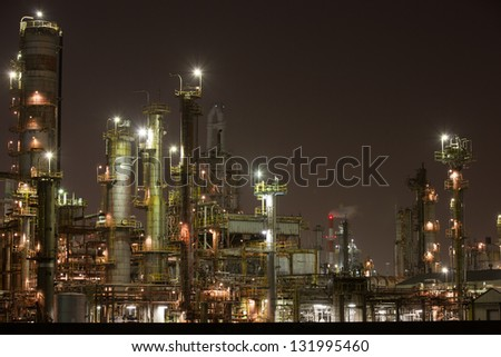 Night view of a petrochemical plant