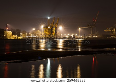 Night view of a port, industrial background. - stock photo