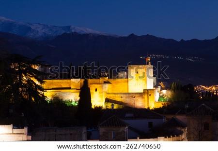 Night view of  Alhambra.  Granada,  Spain - stock photo