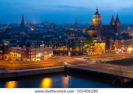 Night view of Amsterdam. GPS information is in the file - stock photo