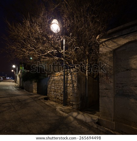 night view of an alley in Dubrovnik. Croatia. - stock photo