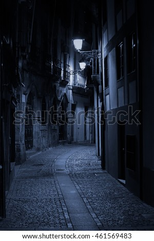 Night view of an alley of old Porto, Portugal
