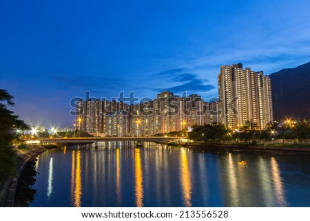 Night view of apartment complexes in Tuen Mun, Hong Kong - stock photo