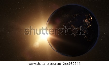 Night View of Asia from Space (Map of this image furnished by NASA) - stock photo