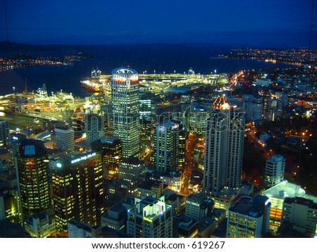 Night view of Auckland city - stock photo
