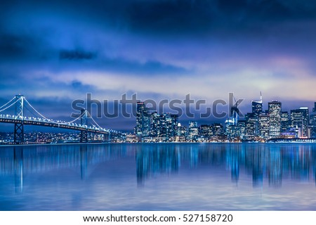 Night view of Beautiful San Francisco skyline and Bay Bridge
