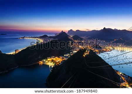 Night view of Botafogo and Copacabana beach in Rio de Janeiro - stock photo