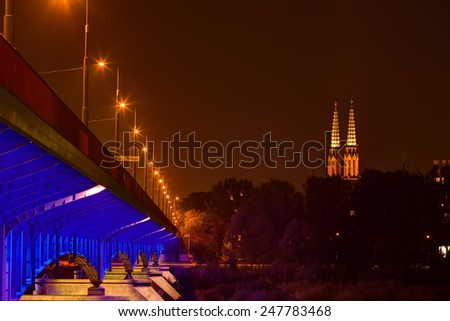 Night view of bridge in Warsaw, capital of Poland