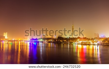 Night view of Cairo over the Nile - Egypt