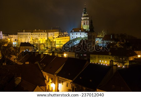 Night view of Cesky Krumlov Castle, Czech Republic - stock photo