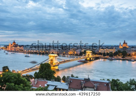 Night view of Chain Bridge on the Danube river and the city of Pest. Budapest - stock photo