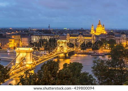 Night view of Chain Bridge on the Danube river and the city of Pest from Buda Castl. Budapest - stock photo