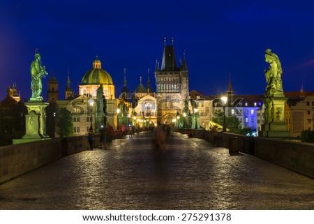 Night view of Charles Bridge (Karluv Most) in Prague. Czech Republic - stock photo