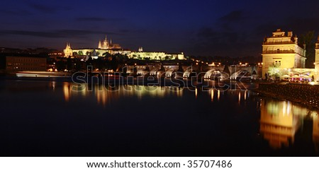 Night View of Charles Bridge leading to Castle, Prague, Czech Republic