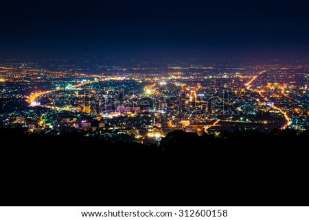 Night view of Chiangmai province,Thailand. - stock photo
