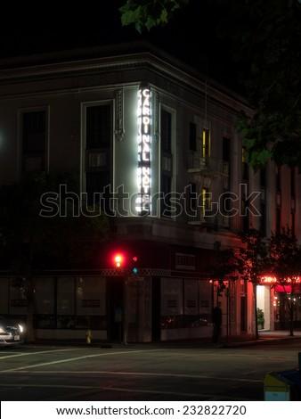 Night view of city streets in Palo Alto, California - stock photo
