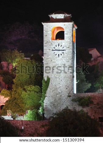 night view of Clock Tower in the old fortress of Bar, Montenegro - stock photo